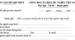 Mẫu đề nghị gia hạn nộp thuế